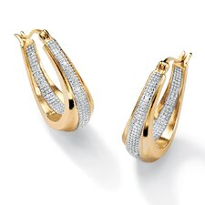 <strong>Palm Beach Jewelry</strong> 14k Gold Plated Oval Diamond Accent Pierced Earrings