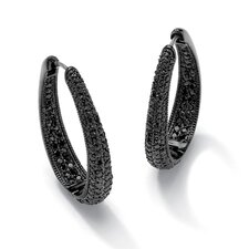<strong>Palm Beach Jewelry</strong> Black Ruthenium Black Cubic Zirconia Huggie Hoop Earrings