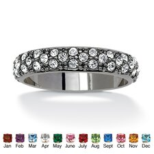 Black Ruthenium Round Birthstone Eternity Band