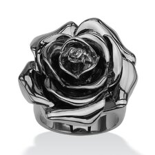 Black Ruthenium Rose-Shaped Electroform Ring