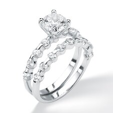 Platinum/Silver Round Cubic Zirconia Wedding Ring Set