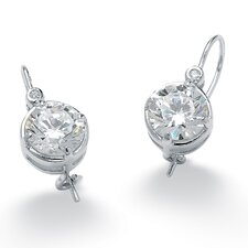 Platinum/Silver Round Cubic Zirconia Earrings