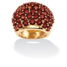 Gold Plated Round Garnet Dome Ring