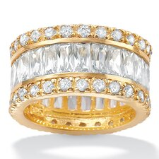 14k Gold Plated Cubic Zirconia Eternity Band Ring