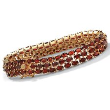 14k Gold Plated Triple-Row Garnet Tennis Bracelet