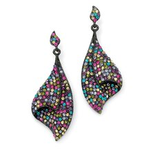 Black Ruthenium Multi-Colored Crystal Drop Earrings