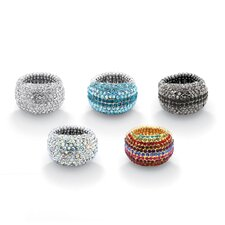 Silvertone Crystal Dome Rings (Set of 5)