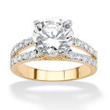 Gold Plated Round Cubic Zirconia Split-Shank Ring