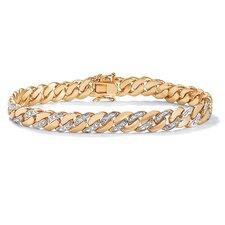 14k Gold Plated Men's Diamond Accent Curb Bracelet