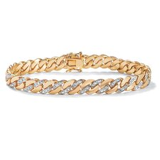 14k Gold Plated Men's Diamond Accent Curb Bracelet