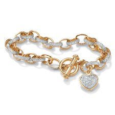 Gold Plated Oval-Link Diamond Accent Bracelet