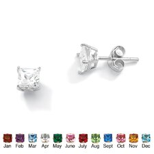 <strong>Palm Beach Jewelry</strong> Sterling Silver Princess-Cut Birthstone Earrings