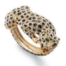 Gold Plated Crystal Leopard Bangle Bracelet