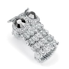 Silvertone Crystal Owl Stretch Ring