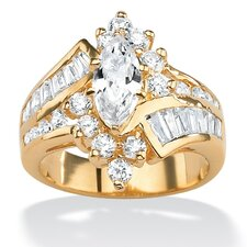 Gold Plated Multi-Cut Cubic Zirconia Ring