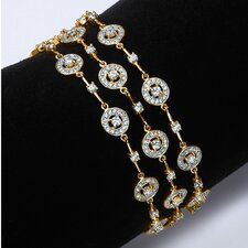 Gold Plated Triple-Row Cubic Zirconia Station Bracelet