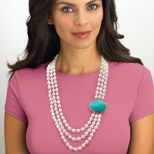 <strong>Palm Beach Jewelry</strong> Silvertone Freshwater Cultured Pearl/Turquoise Necklace