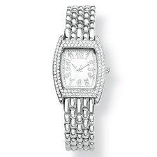 Silvertone Crystal Bezel Bracelet Watch