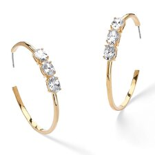 Gold Plated Cubic Zirconia Open Hoop Earrings