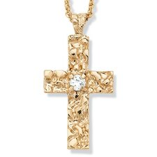 Gold Plated Cubic Zirconia Nugget Cross