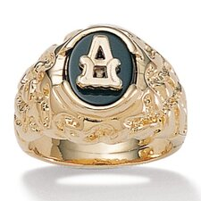 Gold Plated Men's Onyx Initial Ring