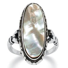 Silvertone Abalone Antiqued Ring