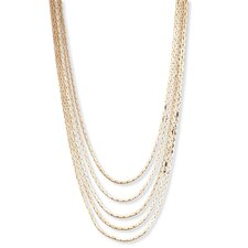 Goldtone Multi Strand Cobra Link Necklace