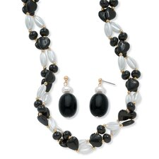 Goldtone Black and White Lucite Beaded Set
