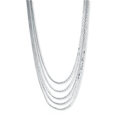 Silvertone Multi-Strand Cobra-Link Necklace