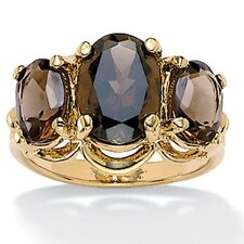 14k Gold Plated Oval-Cut Smoky Quartz Ring
