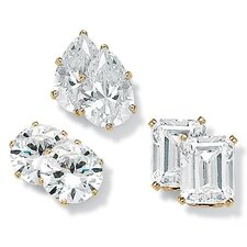 14k Gold Plated 3 Pairs of Cubic Zirconia Stud Earrings Set