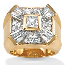 <strong>Palm Beach Jewelry</strong> Gold Plated Men's Cubic Zirconia Ring Bezel-Set