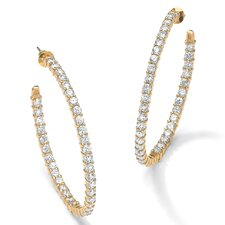14k Gold Plated Cubic Zirconia Inside-Out Hoop Pierced Earrings