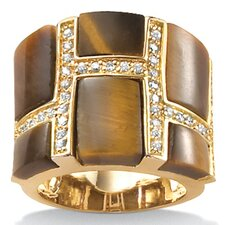14k Gold Plated tiger's-Eye and Cubic Zirconia Ring