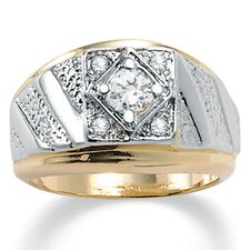 <strong>Palm Beach Jewelry</strong> Men's 14K Crystal Gold - Plated Ring