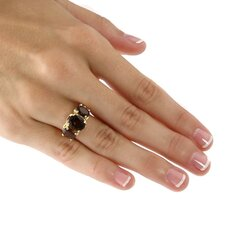 18K Sterling Silver Smoky Quartz Ring