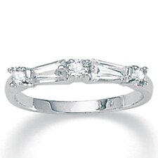 "0.13"" Sterling Silver Cubic Zirconia Ring"