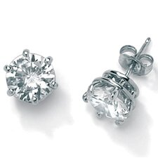 Cubic Zirconia Platinum / Sterling Silver Earrings
