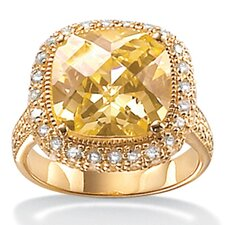 Yellow Cubic Zirconia 18K / Sterling Silver Ring
