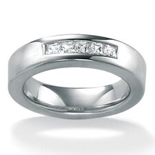 <strong>Palm Beach Jewelry</strong> Men's Cubic Zirconia Platinum/SS Wedding Ring
