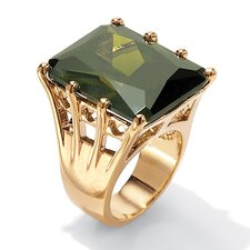 <strong>Palm Beach Jewelry</strong> Olivine Cubic Zirconia Sterling Silver Ring