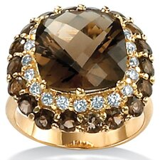 <strong>Palm Beach Jewelry</strong> Smoky Quartz 18K / Sterling Silver Ring