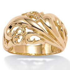 18K / Sterling Silver Gold Dome Ring