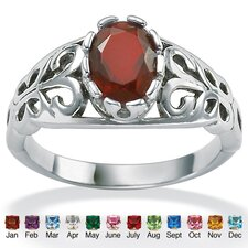 Antiqued Silver Birthstone Ring