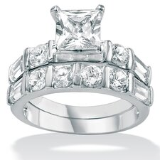 <strong>Palm Beach Jewelry</strong> Cubic Zirconia Platinum / Sterling Silver Wedding Set