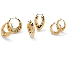 <strong>Palm Beach Jewelry</strong> 3 Pairs of Hoop Earrings Set