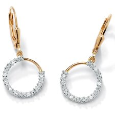 18K Sterling Silver Diamond Accent Hoop Earrings