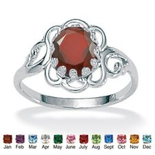 Simulated Birthstone Sterling Silver Ring