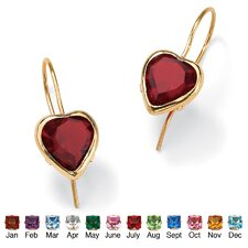Heart - Shaped Birthstone Earrings