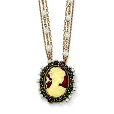 Antiqued Cameo Pendant - Necklace